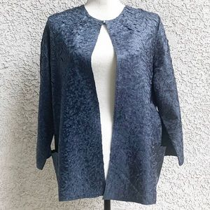 Chico's Blue Crinkly Collarless Lightweight Jacket